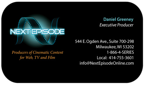 Wisconsin graphic design and print design print designer wisconsin business card design for next episode film producers colourmoves
